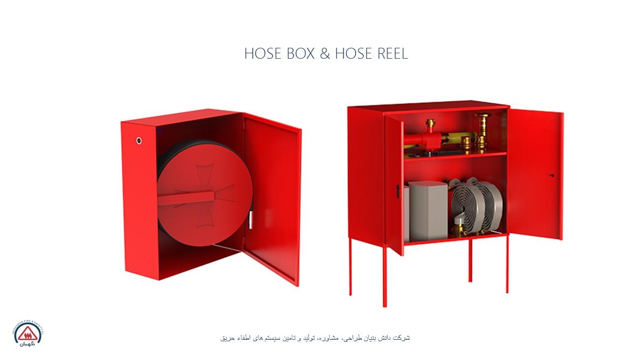 حلقه شلنگ و جعبه آتش نشانی